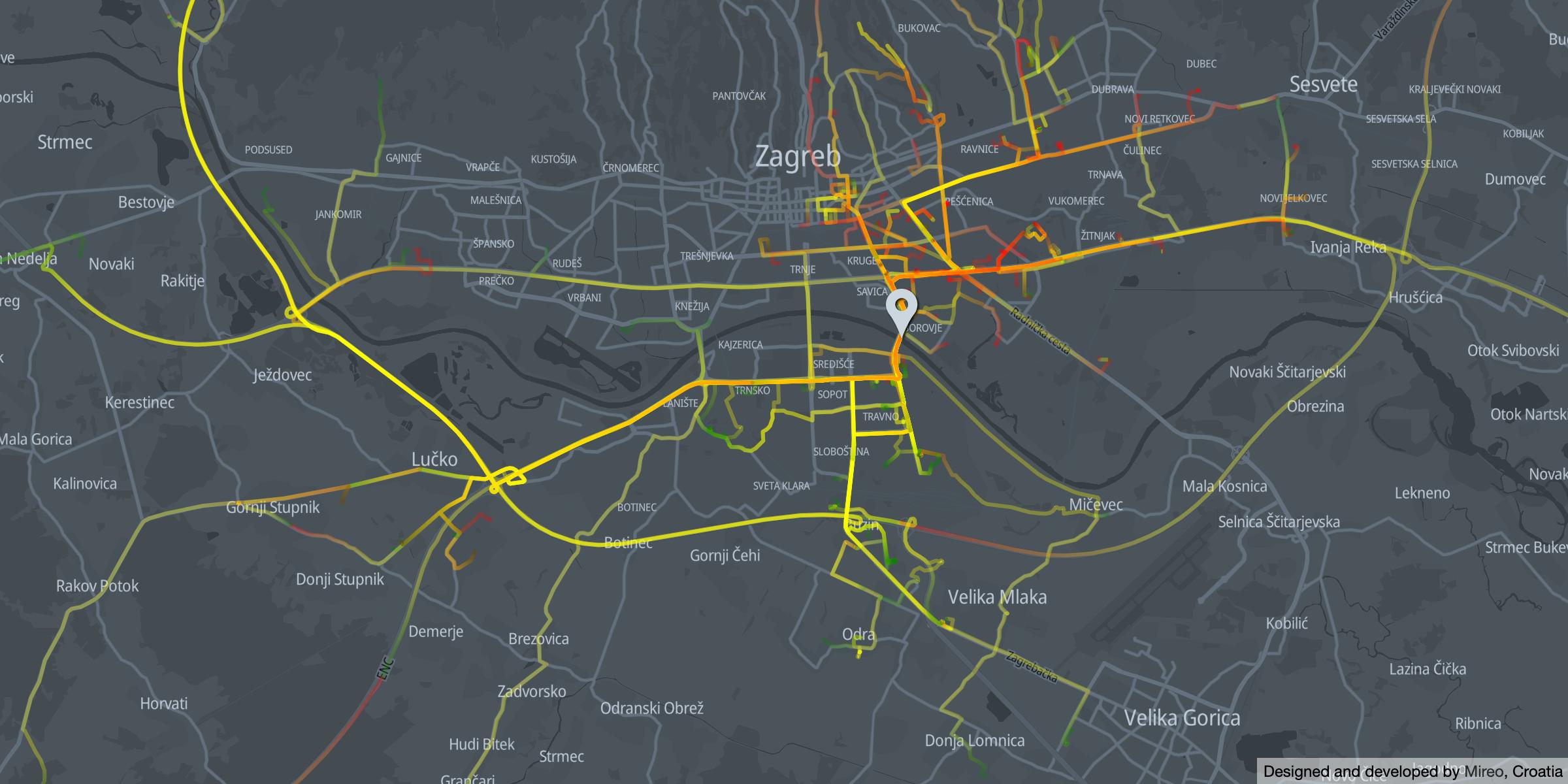 Morning traffic across Youth Bridge - direction north   Zagreb promet preko Mosta mladosti smjer sjever