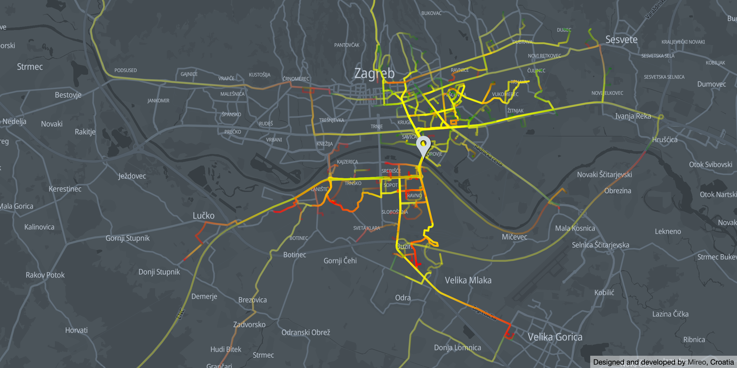 Morning traffic across Youth Bridge - direction south   Zagreb promet preko Mosta mladosti smjer jug